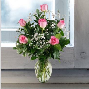 Pink Roses- 1/2 Dozen