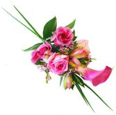 PINK ROSES & CALLA LILIES  WRIST CORSAGE
