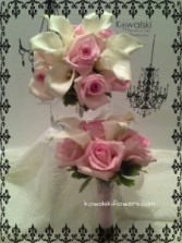 Pink Roses & Calla Lillies Bridesmaids Bouquets
