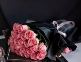 Pink Roses For Sweetie wrapped bouquet