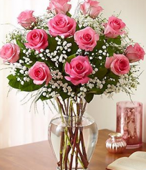 pink roses in a vase vase arrangement