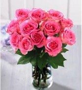 Pink Roses One Dozen Vased Roses
