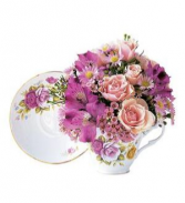 Pink Roses Teacup Bouquet