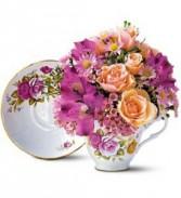 Pink Roses Teacup Bouquet  Fresh Arrangement