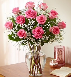 Pink Roses With Babies Breath