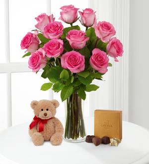 Pink Roses with Bear & Godiva® .WGF429-N