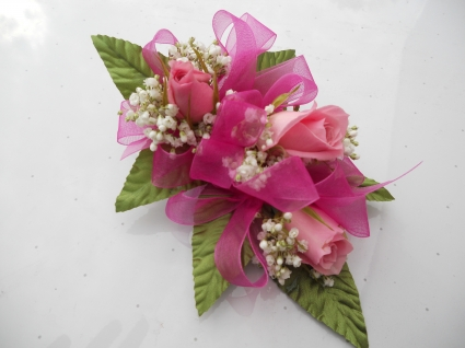 Pink Roses with Hot Pink Ribbon