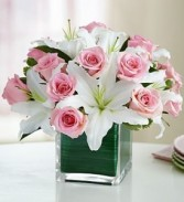 Pink roses with white lilies in cube glass  **ORDER NOW **