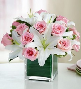 Pink roses with white lilies in cube glass  **ORDER NOW ** in Vancouver, BC | ARIA FLORIST