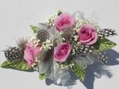 Pink Roses with White Ribbon & Feathers