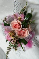 pink roses wrist corsage corsage