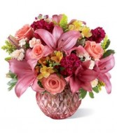 Pink Hand cut vase arrangement