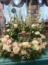 Pink serenity Cremation wreath