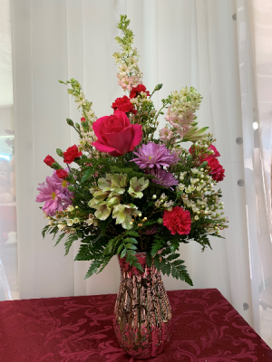 Pink Shimmer Boka Valentine 2020 All around arrangement in Berwick, LA | TOWN & COUNTRY FLORIST & GIFTS, INC.