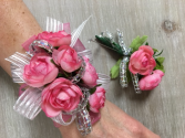 P100 - Pink Shimmer Corsage Set Corsage and Boutonniere