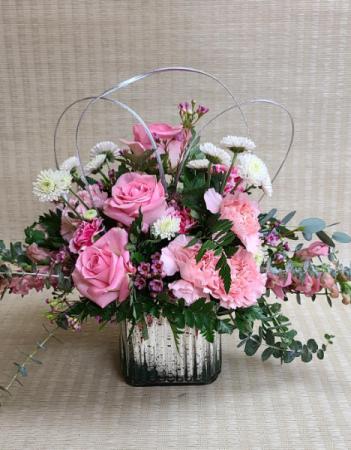 Pink Shimmer Jazzy arrangement in cube vase