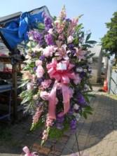 PINK SNAP, PURPLE STOCK, PINK PEONIES, PINK ROSE  FUNERAL FLOWERS