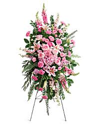 PINK SOLACE STANDING SPRAY  2 STANDING FUNERAL PC