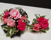Pink Sparkle  Wrist corsage and boutonniere