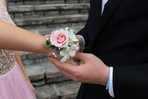Pink sparkles wrist corsage Prom corsage in Knoxville, TN | ALWAYS IN BLOOM LLC