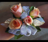 Pink Spray rose and Silver Leaf Corsage wrist corsage