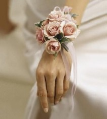 Pink Spray Rose Wrist Corsage with white sheer bow