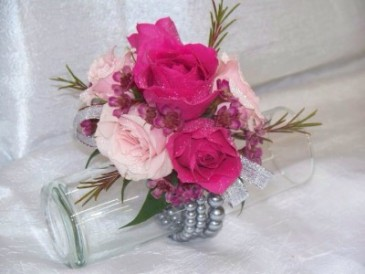 Pink Spray Roses Wrist Corsage
