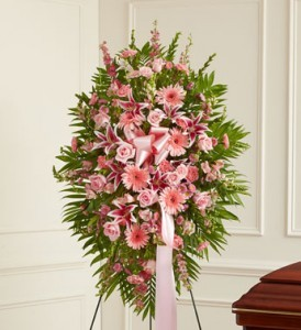 Pink Standing Easle Spray Funeral Service Flowers
