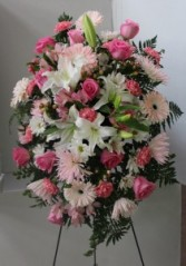 Pink Standing Spray Easel Arrangement