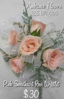 Pink Sweetheart Roses Wristlet