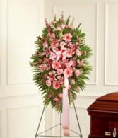 Pink Sympathy Standing Spray sympathy flowers