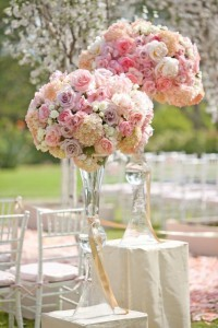 Pink tall centerpieces wedding flowers in whitesboro ny kowalski pink tall centerpieces wedding flowers junglespirit