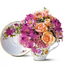 Pink Teacup Bouquet Fresh Arrangment LOCAL ONLY