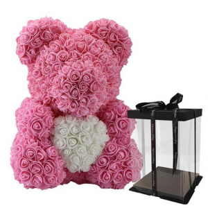 Pink teddy rose bear  in New York, NY | Bella's Flowers New York City