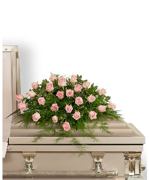Pink Tranquility Casket Spray Sympathy in Nevada, IA | Flower Bed