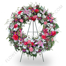 Pink Tribute Wreath Arrangement  in Margate, FL | THE FLOWER SHOP OF MARGATE