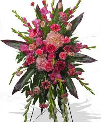 PINK TROPICAL STANDING SPRAY STANDING FUNERAL PC ON A 6' STAND