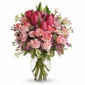 Pink Tulip and Rose Bouquet