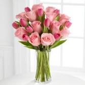 Pink Tulip & Rose Vase