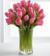 Pink Tulips Vased Arrangement