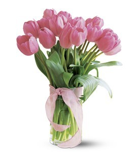 Pink Tulips , assorted colors 10 stem Vased Arrangement