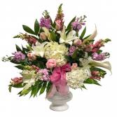 Pink urn arrangement
