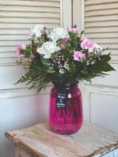 Pink Vase Carnation Arrangement Valentine's Day Arrangement