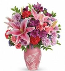 Pink humming bird  vase