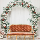 Pink, White and Red Floral Arch Ceremony Flowers