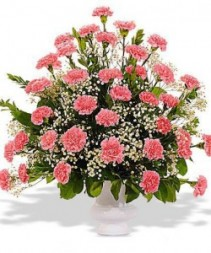 Pink & White Carnation Bouquet Sympathy Arrangement