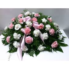 Pink & White Carnations Casket Spray