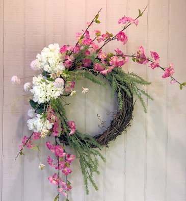 Pink & White Cherry Blossom Wreath Powell Florist Exclusive
