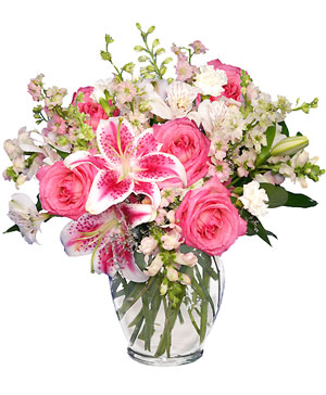 PINK & WHITE DREAMS Flower Arrangement in Greenfield, IL | BEV'S BASKETS & BOWS