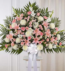 Pink & White Floor  Funeral Basket-